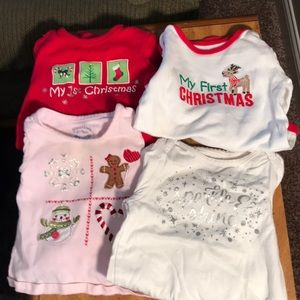 Lot of four baby's first Christmas shirts